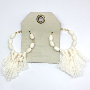 NWT Anthropologie White Hoop Tassels Earrings